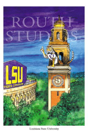 "Craig Routh, Artist & Illustrator Louisiana State University, LSU Paintings - Craig Routh, Artist & Illustrator Louisiana State University, LSU Paintings - LSU Painting Gallery - ""LSU Memorial Tower"" by Craig Routh"