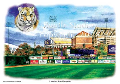 "Craig Routh, Artist & Illustrator Louisiana State University, LSU Paintings - Craig Routh, Artist & Illustrator Louisiana State University, LSU Paintings - LSU Painting Gallery - ""LSU Sports Complex"" by Craig Routh"