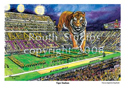 "Craig Routh, Artist & Illustrator Louisiana State University, LSU Paintings - LSU Painting Gallery - ""LSU Tiger Stadium"" by Craig Routh"