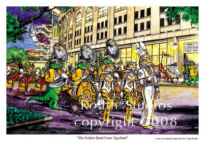 "Craig Routh, Artist & Illustrator Louisiana State University, LSU Paintings - Craig Routh, Artist & Illustrator Louisiana State University, LSU Paintings - LSU Painting Gallery - ""The Golden Band from Tigerland"" by Craig Routh"