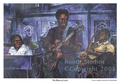 "Craig Routh, Artist & Illustrator Scenic watercolor gallery - ""The Blues at Lou's"""