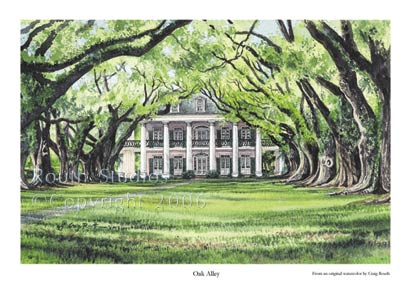 "Craig Routh, Artist & Illustrator Scenic watercolor gallery - ""Oak Alley"""