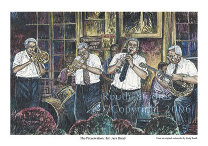 "Craig Routh, Artist & Illustrator Scenic watercolor gallery - ""The Preservation Hall Jazz Band"""