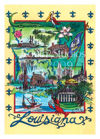 "Craig Routh, Artist & Illustrator - ""Louisiana State Collage"""
