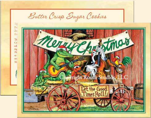 Louisiana Greeting Cards - Cajun Greeting Cards - Let the Good Times Roll Christmas Card