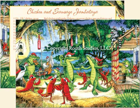 Louisiana Greeting and Christmas Cards - Cajun Greeting and Christmas Card - Christmas on the Bayou
