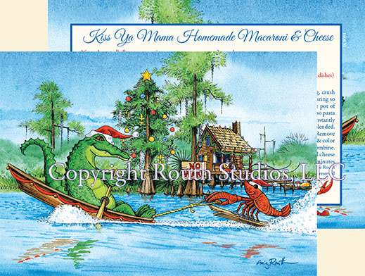 Florida Georgia Mississippi Louisiana Texas Crawfish Alligator Watersking Christmas Card