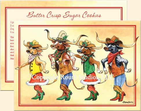 Texas Greeting Cards - Longhorn Christmas Line Dance