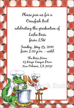 Crawfish and Alligator Chef Invitations