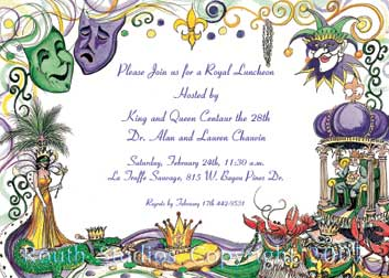 Mardi Gras Invitations, King Cake, Jester, Comedy Tragedy, Floats, Beads, King and Queen