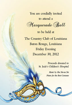 Louisiana Invitations - Blue and Gold Masquerade