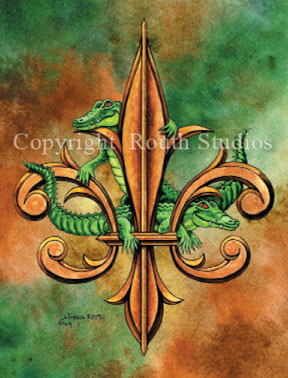 Alligators Fleur-de-lis Alligator Fleur de lis Louisiana Greeting Cards - Cajun Greeting Cards