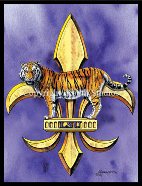 Louisiana Greeting Cards - Cajun Greeting Cards - LSU Tiger Eyes LSU Tiger Fleur-de-lis Fleur de lis Note cards