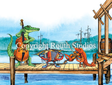 Louisiana Greeting Cards - Cajun Greeting Cards - Pier Party Musicians Note cards features an alligator playing base, the crab on the accordion and a crawfish fiddler