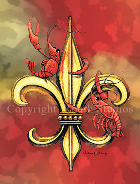 Louisiana Greeting Cards - Cajun Greeting Cards Crawfish Fleur de lis Fleu-de-Lis