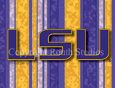 Louisiana Greeting Cards - Cajun Greeting Cards - LSU Tiger Stripes Purple and Gold Note cards
