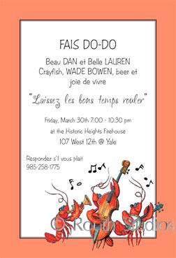 Crawfish Boil Invitations Jazz Invitation Louisiana Themed Invitations
